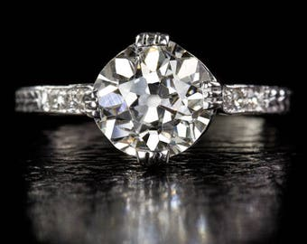 Antique One of a Kind Diamond Engagement Ring EGL-Certified 1.87ct H-I SI2 Old Mine Cut Center Diamond Antique Right Hand Platinum 10254
