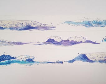 Design Washi tape wave sea blue