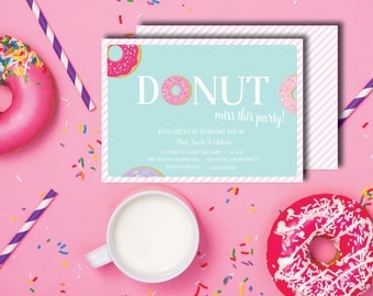 Donut Miss This Party DIY Printable Childrens Birthday Party Invitation with back design