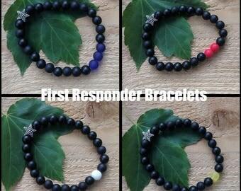 Thin Blue Line Bracelet,First Responders,Bracelet,First Responder Bracelet,Police Bracelet,Beaded Bracelet,Police,Fire,EMS,Dispatch