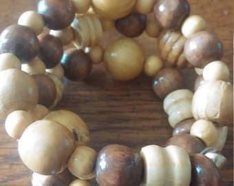 Wooden Beads on Wire Bracelet