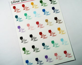 Wine Time Planner Stickers multicolor