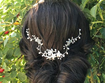 Vintage bridal hair vine - back of the head hair vine - Bohemian bridal headpiece - Wedding hair accessory