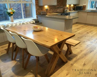 Solid Oak Cross Leg Dining Table With Matching Bench Handmade In North Yorkshire