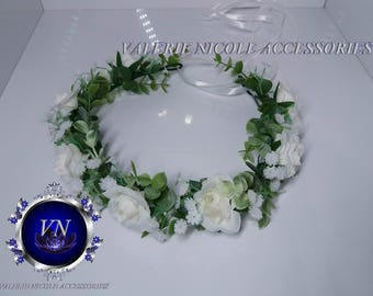 White  Flower crown Eucalyptus crown Floral crown Wedding flower crown Flower hair wreath Hair flower crown Bridesmaid crown