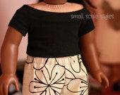 "Boatneck black raglan tee  American Made to fit 18"" Girl Dolls"