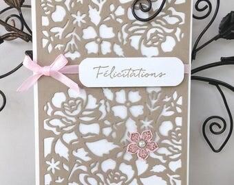 Wedding congratulations card - Openwork flowers - pink satin ribbon