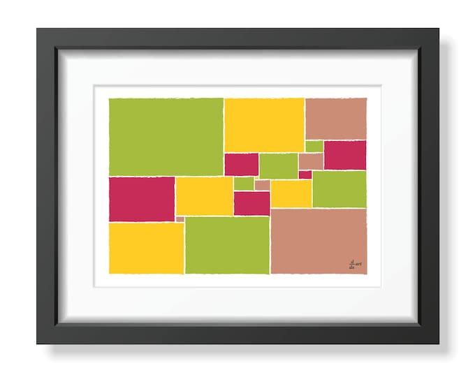 Squared square stretched 07 [mathematical abstract art print, unframed] A4/A3 sizes