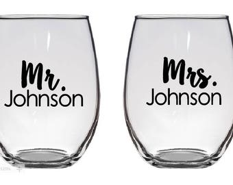 Mr. & Mrs. (Last Name) Wine Glass set of DECALS ONLY