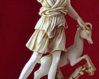 Artemis Diana Goddess of Nature Hunt Deer Greek Statue Patina