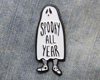 """Goth Ghost Brooch """"Spooky All Year"""" Enamel Pin with Funny Quote - Black and White Cute Enamel Pins Horror Alternative Fashion"""