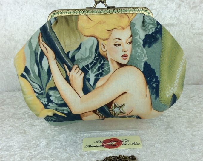 The mermaids Sea Sirens Alice bag purse handbag clutch fabric Alexander Henry handmade in England
