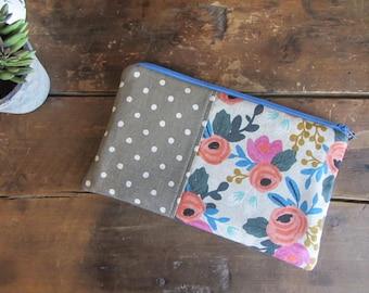 Make-up or Pencil Bag, Coral Pink Floral with Tan Dots, Zipper Storage Bag, Fabric Make Up Bag, Long Rectangle Make Up Bag