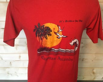 Vintage 1980's Bahamas Surfing Beach Colorful Made in the USA  T-Shirt 50/50  Thin Soft
