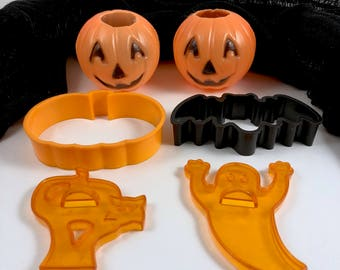 Halloween Plastic Pumpkin Decorations,  Cookie Cutters, Pumpkin, Bat, Ghost, Black Cat, Plastic Jack O'Lanterns, Halloween Cookies