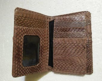 Handmade Snakeskin Leather Wallet. MEN'S BIFOLD WALLET. Brown Snakeskin Wallet. Free Shipping #02