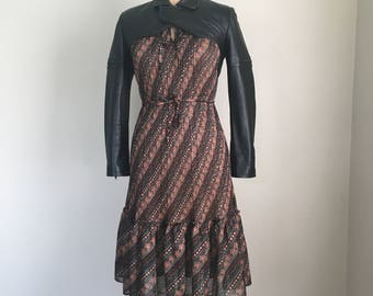 Vintage 70s Sheer Polyester Calico Dress