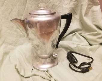 Vintage MId century Mirro 9 cup COffee maker percolator with cord Fancy