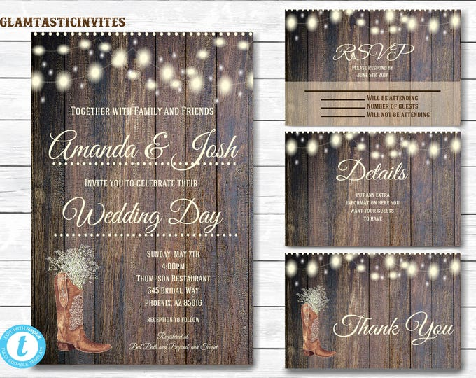 Rustic Wedding Invitation Template, Country Wedding Invitation, Wedding invitation suite, Instant Download, Rustic, Wedding Template, Boot
