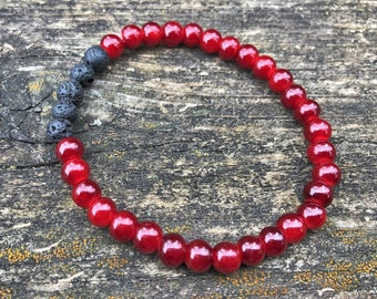 Essential Oil Bracelet / Red Jewelry  / Diffuser Bracelet / Lava Rock / Gem Bracelet / Yoga Bracelet