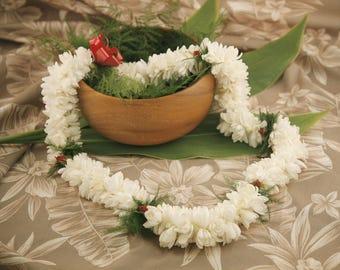 Fresh Double Tuberose Lei - Fresh Flower Lei Ships from Honolulu - Fresh Tuberose Lei Hawaiian Lei Tropical Wedding Graduation Fragrant