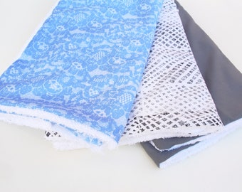 Baby burp clothes, set of 3, baby shower, newborn gift, blue lace, grey, monochrome