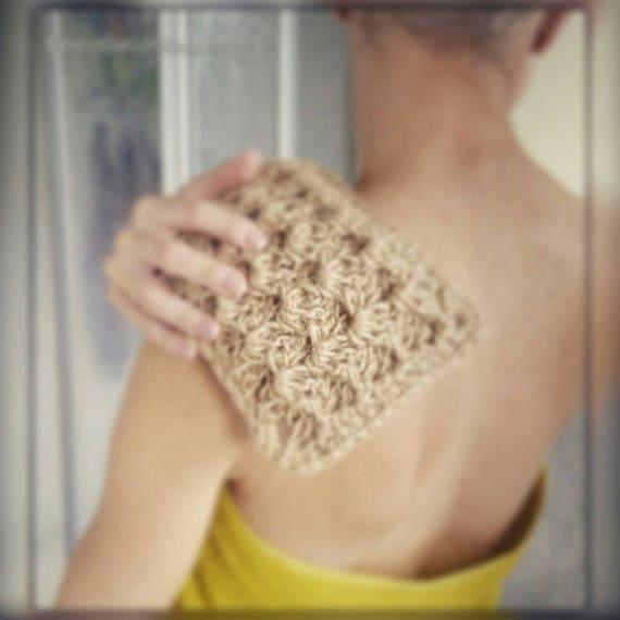 CROCHET  bath/shower MITT, Eco-friendly sponge, 100 % natural jute