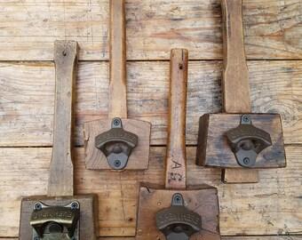 BEER BOTTLE OPENER:  mounted on a vintage wood mallet, wall hangable.