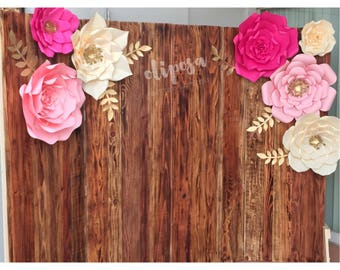 7 pc Giant Paper Flowers, backdrop, wedding, party, Customize your colors!