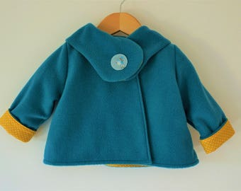 Coat fleece blue duck baby from 6 months to 2 years