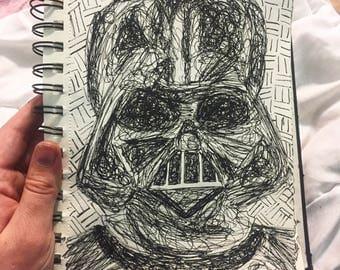 Darth Vader scribble portrait