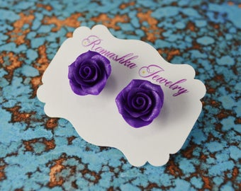 Purple Roses. Polymer Clay Rose Earrings. Rose Studs. Flower Earrings. Gift for Her. Bridesmaid's Gift. Handmade Jewelry
