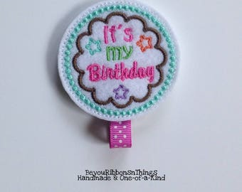 Birthday Girl | Hair Clip for Girls | Toddler Barrette | Kids Hair Accessories | Grosgrain Ribbon | Felties | No Slip Grip