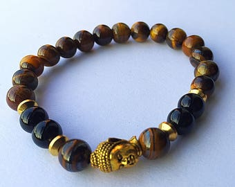 Mens Tigers Eye and Gold Stretch Buddha Bracelet