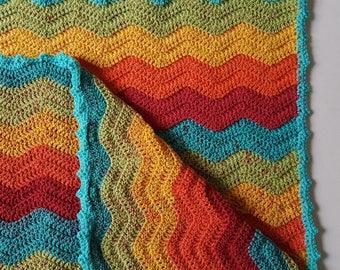 Crochet Baby Blanket, Rainbow Chevron Baby Blanket, Crochet Blanket, Pram Blanket, Nursery Decor, Baby Shower Gift - MADE TO ORDER