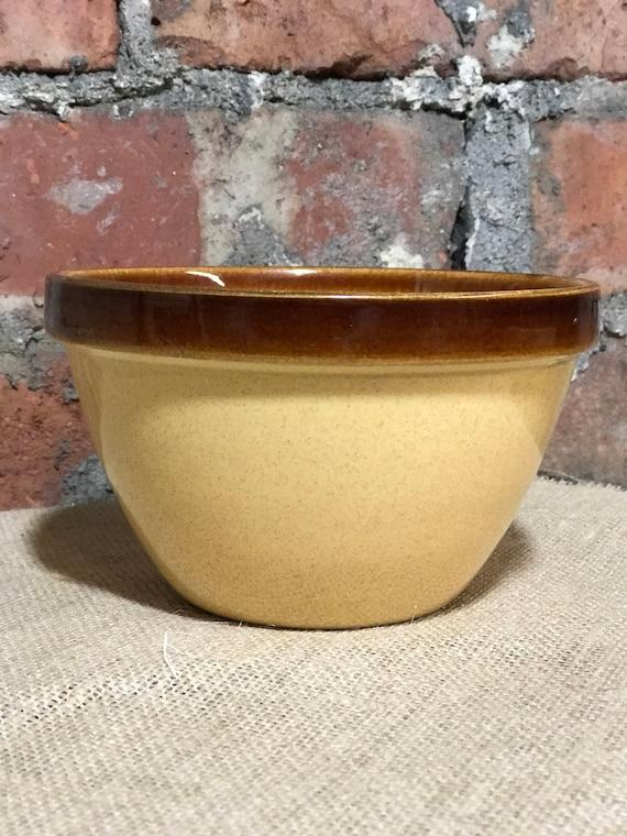 Small vintage Brown Honey Glaze Pudding Bowl - Rustic Farmhouse Suet Pudding Bowl / Vintage Bakeware Stone Glaze Bowl / Vintage Kitchenalia