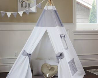 Gray & White Teepee with Floor, Pocket, Poles, Buntings, Carry Bag