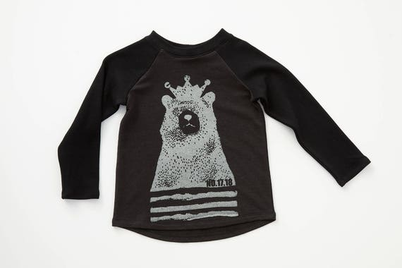 LUPIN - long sleeve baseball shirts with Cokluch Mini No.17.18 bear for kids: boys and girls - black