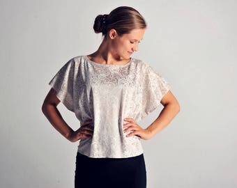 MARIA tunic top in ivory lace - sizes XS/S/M