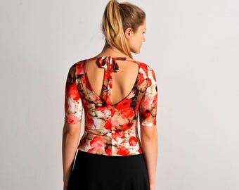 ANGEL poppy print top, XS-S