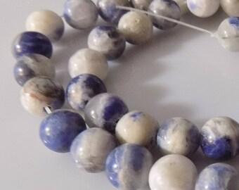 "Blue 8mm Round Natural Sodalite Gemstone Beads (16"" Strand)"