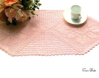 Hexagonal crochet pink doily, Filet doily, centrino esagonale rosa a filet