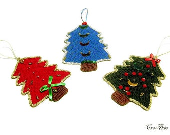 Crochet Christmas Tree Hanging Ornaments, Decorazioni Albero di Natale