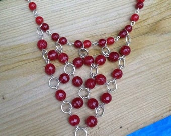 CLOSEOUT SALE Red Ruby Bib Necklace Set