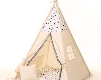 Tipi, les enfants jouer maison en bois, lit de maison en bois de jeu pour enfants. Tipi pour enfant, lit tipi enfant