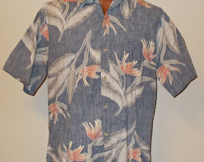 Vintage 90s Cooke Street Aloha Hawaiian Blue Cotton Bird Of Paradise Blend Reverse Print Surfer Short Sleeve Men's Shirt L