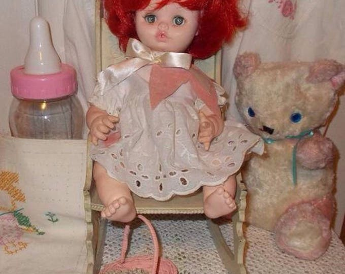 "14"" Vintage 70s 1975 Play Pal Plastics Girl Doll Toy Rooted Red Hair Green Sleep Eyes Original White Eyelet Dress"