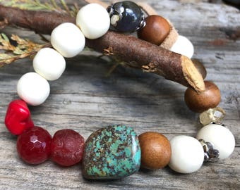 Boho Chic Sleeping Beauty Turquiose Labradorite Citrine Agate Magnesite Gemstones Sterling Silver African Recycled Trade Glass & Hand Carved