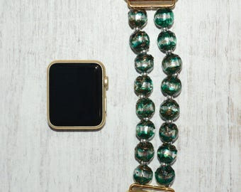 Lampwork Beads apple watch band 38mm / 42mm // apple watch accessories - apple watch strap - iwatch band - lugs adapter - no-clasp