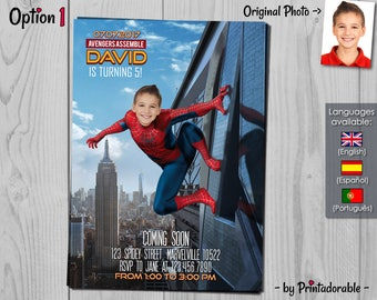 Spiderman homecoming birthday invitation spiderman invitation amazing spider man homecoming birthday invite marvel invitations with photo solutioingenieria Gallery